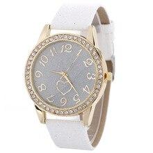 Fashion Luxury Women's Quartz Wristwatch Leather Women's Bracelet Watches Rhinestone Dress Watch Reloj Mujer Heart Lover's Gifts