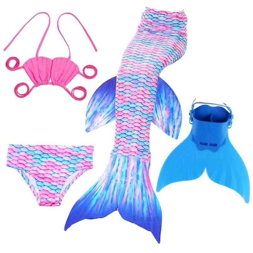 Crianças princesa ariel sereia caudas para traje de natação crianças natação sereia cauda cosplay meninas maiô terno com monofin