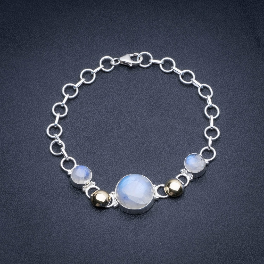 Natural Two Tones Rainbow Moonstone 925 Sterling Silver Tennis Bracelet 5 3/4-8 R2518Natural Two Tones Rainbow Moonstone 925 Sterling Silver Tennis Bracelet 5 3/4-8 R2518