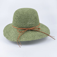 2018 summer new fashion wheat Panama sun hat beach hat ribbon bow knot naval style straw hat woman cap 12 COLOR T