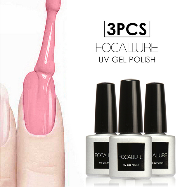 FOCALLURE Choose 3Pcs UV Nail Gel Polish Led Lamp Gel Nail Lacquer ...