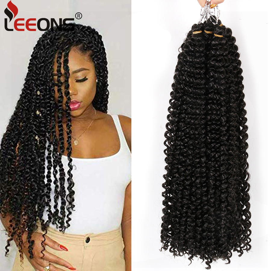 Leeons Passion Twist Crochet Braid Hair 18Inch Fluffy Twists Braiding Hair Long Bohemian Crochet Synthetic Ombre Hair Extension