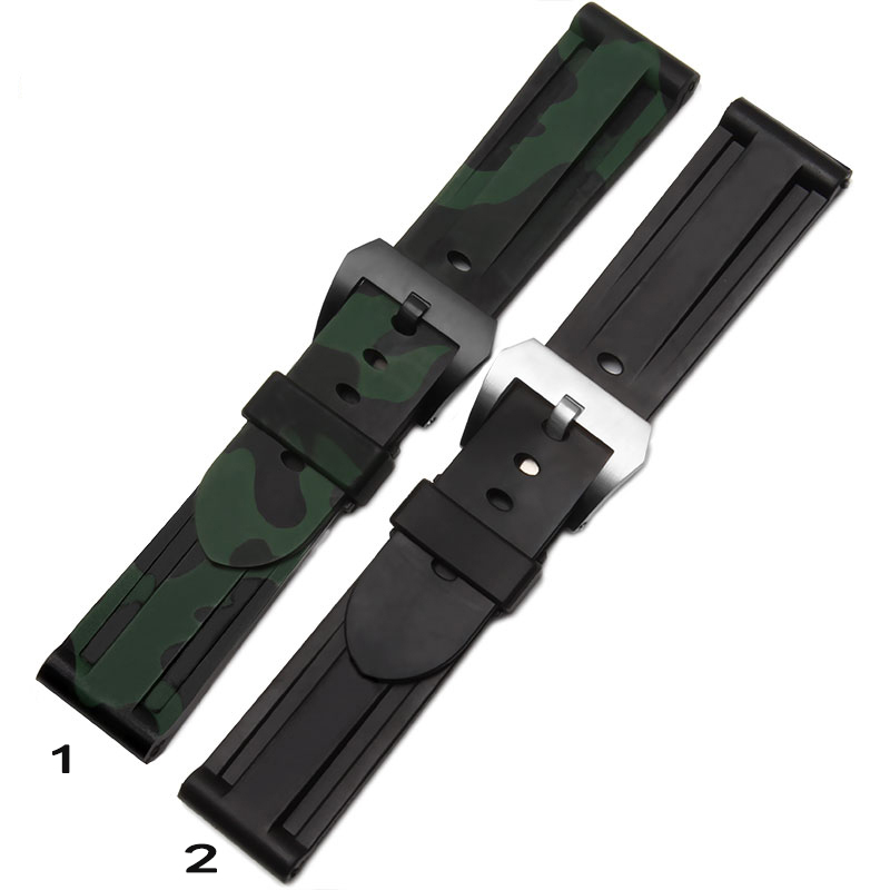 24mm Mens Black Waterproof Silicone Rubber Watchbands Camouflage color Black Silver Strap Buckle Clasp Replacement For