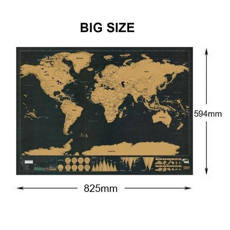 Deluxe Black Personalized Travel  Scratch Off Map World Map Best  Decor  Wall Stickers School Office Stationery Supplies