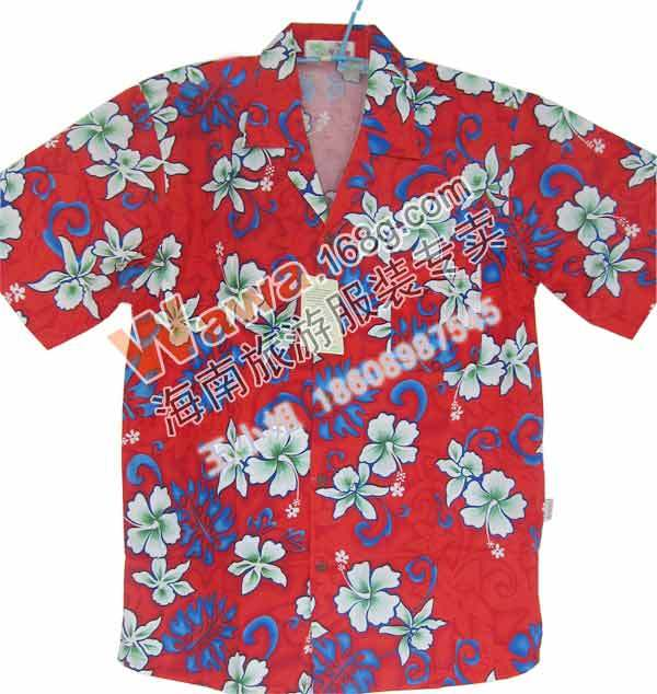 Free Shipping Male Flower Shirt Blue Red Beach Shirts