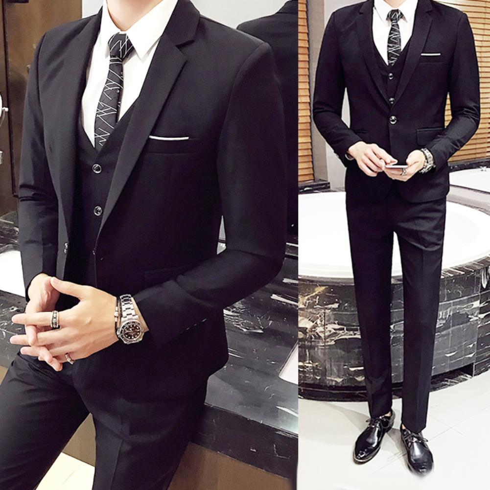Formal Pant Tuxedo Vest Jacket Wedding-Suit Classic Business Black Blue Plus-Size 3pcs/Set