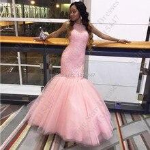 2016 Robe De Soiree Rosa Tüll Abendkleider Meerjungfrau Stil Scoop Kristalle Perlen Lange Prom Party Kleider Arabisch Formale Kleider