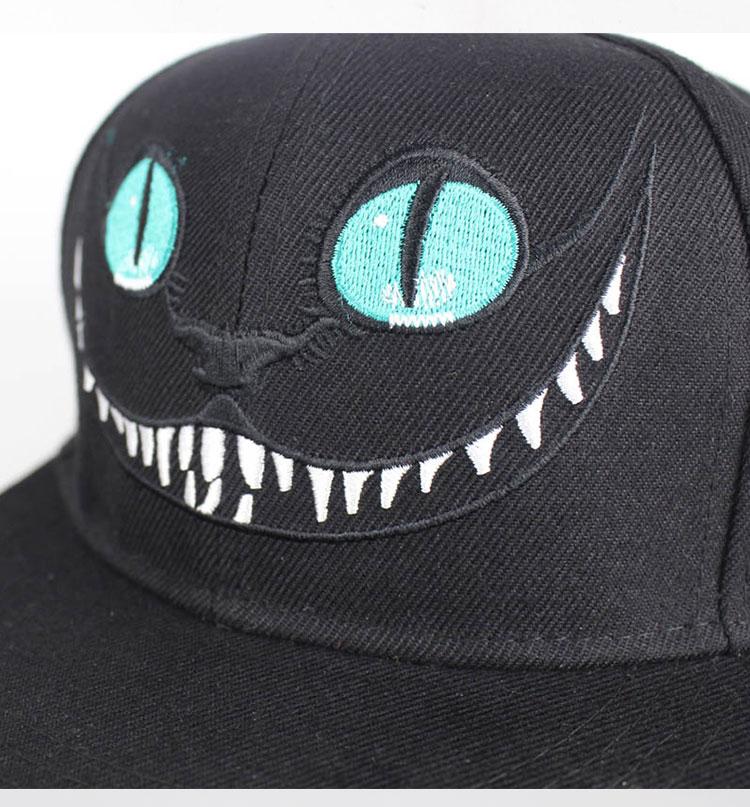 Alice Wonderland Cheshire Cat cartoon baseball caps Embroidered Monster Eye  Teeth Snapback Hip Hop Hats for Men s Women Hat 54d66631933