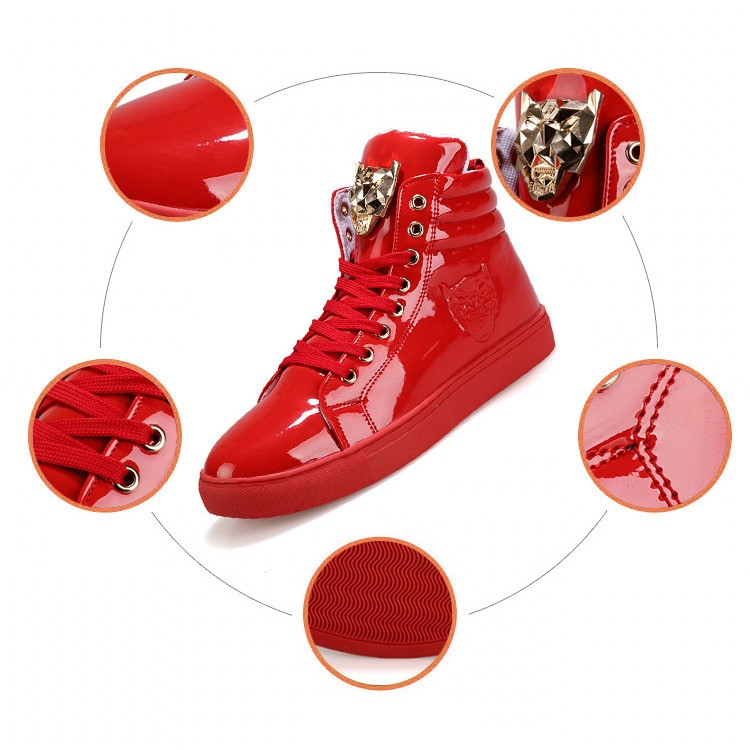 Fashion Leopard Sequined Skate Shoes For Men Ankle Boots 2015 New PU Patent Leather Shoe High Top Casual Flats Medusa Shoes F184 (3)