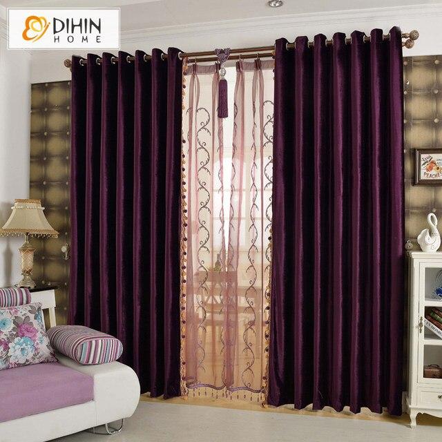 Dihin Home Modern Velvet Material Soft Feeling Curtains Not Included Bead Ball For Living Room Custom Made 5 Color Best Quality