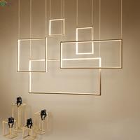 Современные квадратные металлические Led подвесная люстра огни акриловые Обеденная Led освещение люстры Гостиная подвесной светильник свети