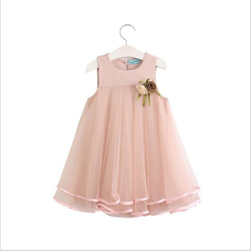 2017 New Arrival Baby Girls Summer Dresses Sleeveless Flower Dress Kid School Fashion Vest Mesh Tutu Princess Party Dresses free shipping new arrival 2015 fashion summer baby girl lovely flower sleeveless bowknot round neck party dress hot sale
