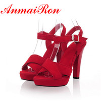 ANMAIRON The New Summer Sexy High Heels Shoes Stiletto Fish Mouth Ladies' Pump Peep Toe Sandals Drop Ship Big Size 34 43