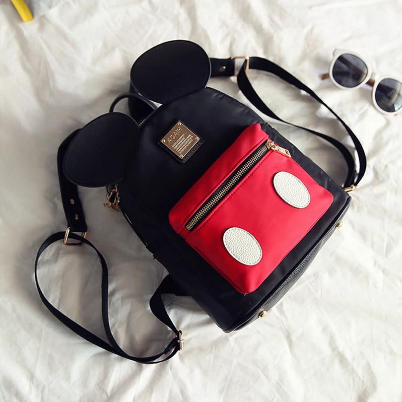 9b1fb88802 ... Cute Backpack Minnie Shape Female School Bag Nylon Kids Bag pack Mickey  Ears Kawaii Mini Backpack ...