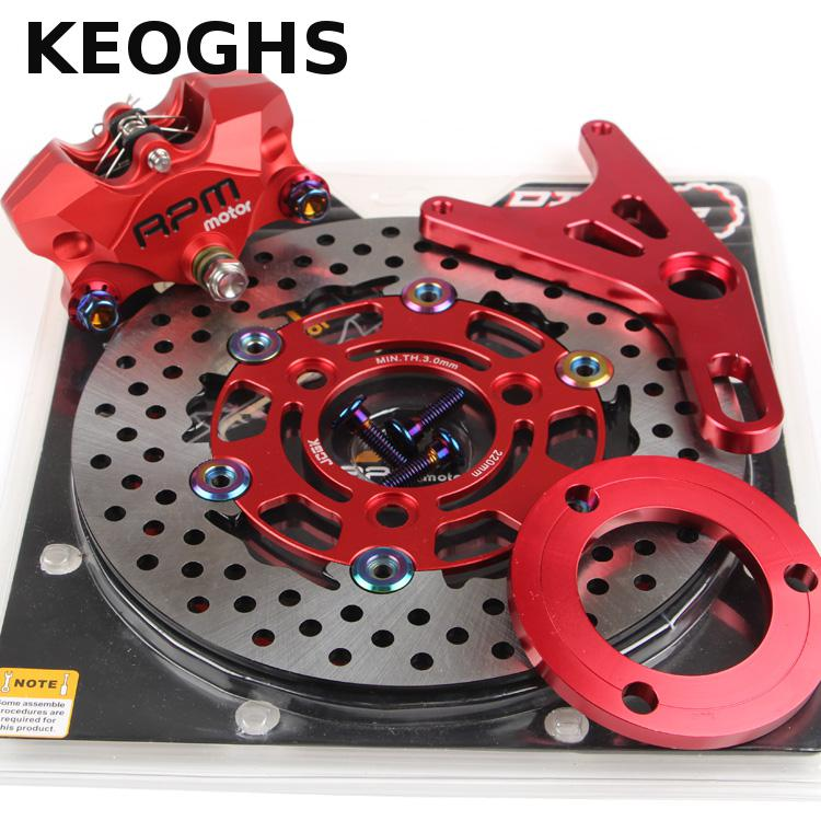 Keoghs Motorcycle Rear Brake System Rpm 2*34mm Piston Brake Caliper/220mm Floating One Set For Yamaha Kawasaki Honda Dirt Bike keoghs motorbike rear brake caliper bracket adapter for 220 260mm brake disc for yamaha scooter dirt bike modify