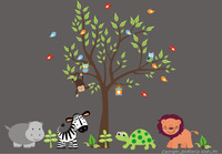 Safari Animals Nature Removable Reusable Wall Decals Baby Nursery Art 84 x 109