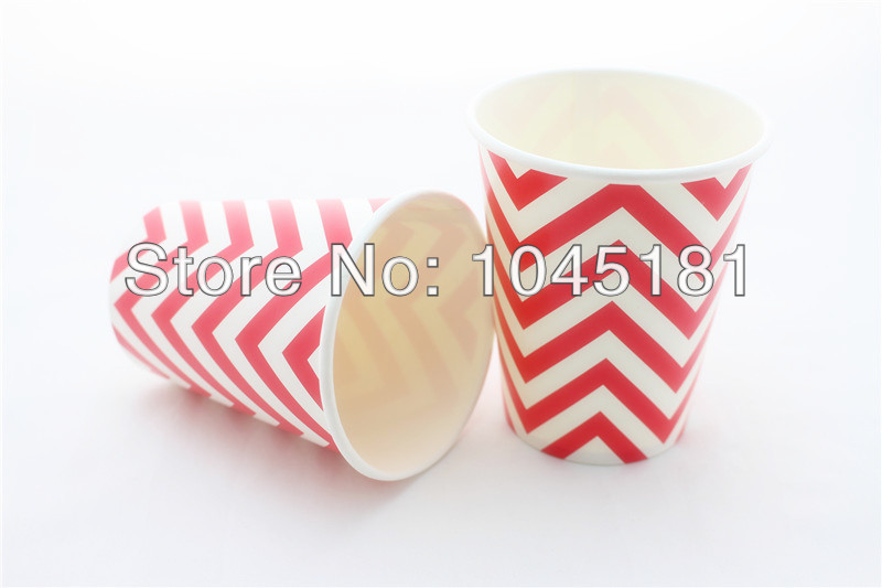 Chevron Party Tableware Set Disposable Paper Plates Cups Drinking Straws Wedding Decoration Supplies 61pcs Lot In