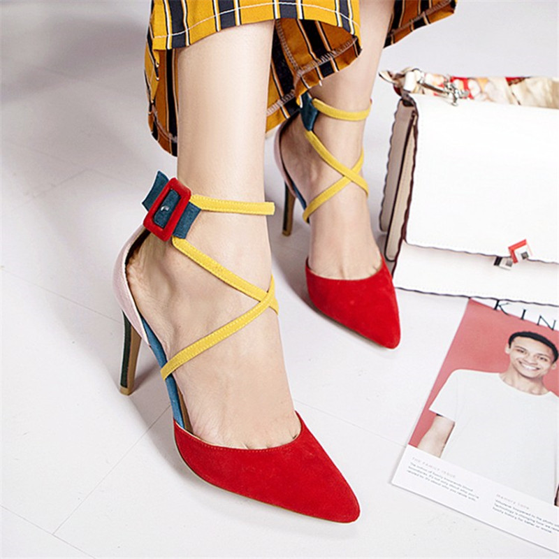 Autumn Spring Mixed Color Leather Stilettos Fashion High heeled Cross Strap Pumps Ankle Red Buckle Party