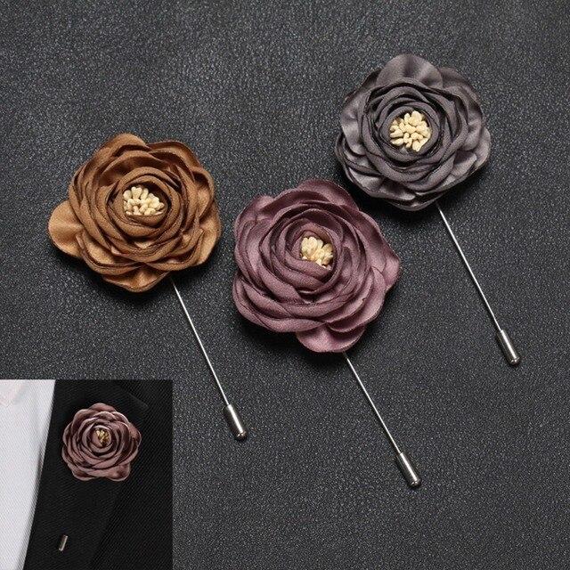 Ткани ручной работы цветок Роза брошь контактами для Для мужчин однотонная свадебная бутоньерка длинные иглы значки для Декор для костюма Для мужчин s ювелирные изделия