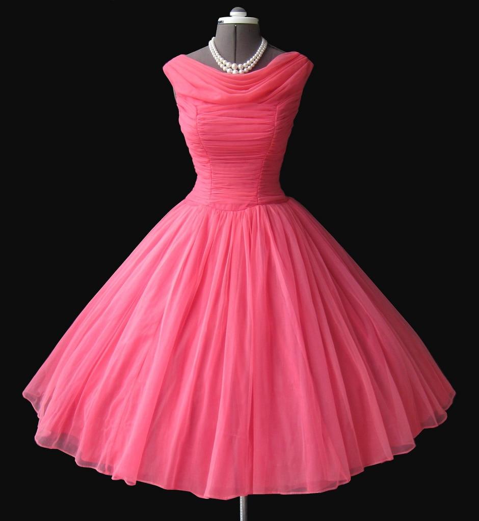 Vintage Prom vestidos Scoop escote de longitud de té vestido de ...