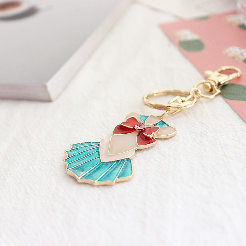 SANSUMMER Beautiful Girl Warrior Appearance Bow Tie Skirt Cute Personality Key Button 2018 New Alloy ordinary Key Buckle 5519 in Key Chains from Jewelry Accessories
