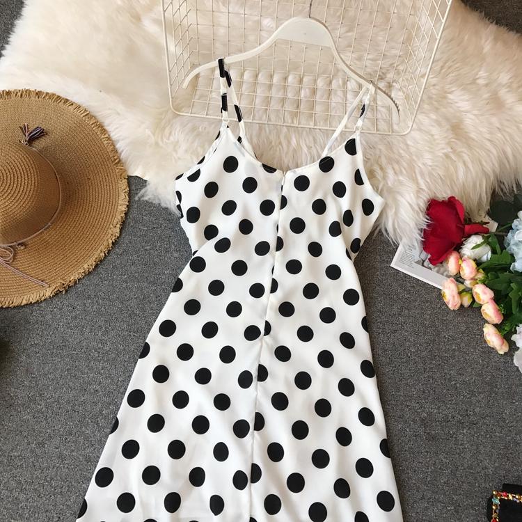 Women Beach Red Dress 2019 Summer New Seaside Holiday Sleeveless Dot Print Casual Vestidos E496 38