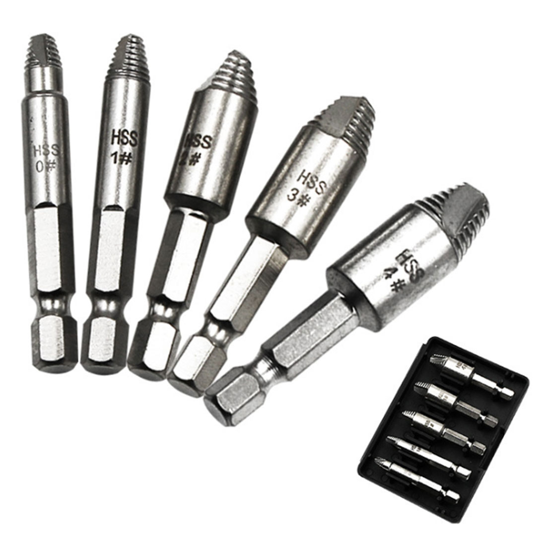 HSS Drill Bits Damaged Screw Extractor Guide Set Broken Speed Out Easy Out Bolt Stud Stripped Screw Remover Tool