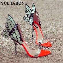 High-end Women Orange Butterfly Sandals Metal Stiletto Heel Metallic Cut-outs Pumps Bling Crystal Celebrity Wedding Shoes