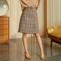 FANSILANEN 2019 New Arrival Fashion Autumn/Spring Women Vintage Plaid Skirts Wool Woolen Z86267