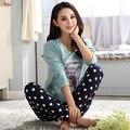 Mulheres Presente Adulto Pijama de Algodão Define mujer Adultos Dos Desenhos Animados Desgaste da Mola Mulheres Nightwear Pijama Define Pijamas Para Senhoras Feminino