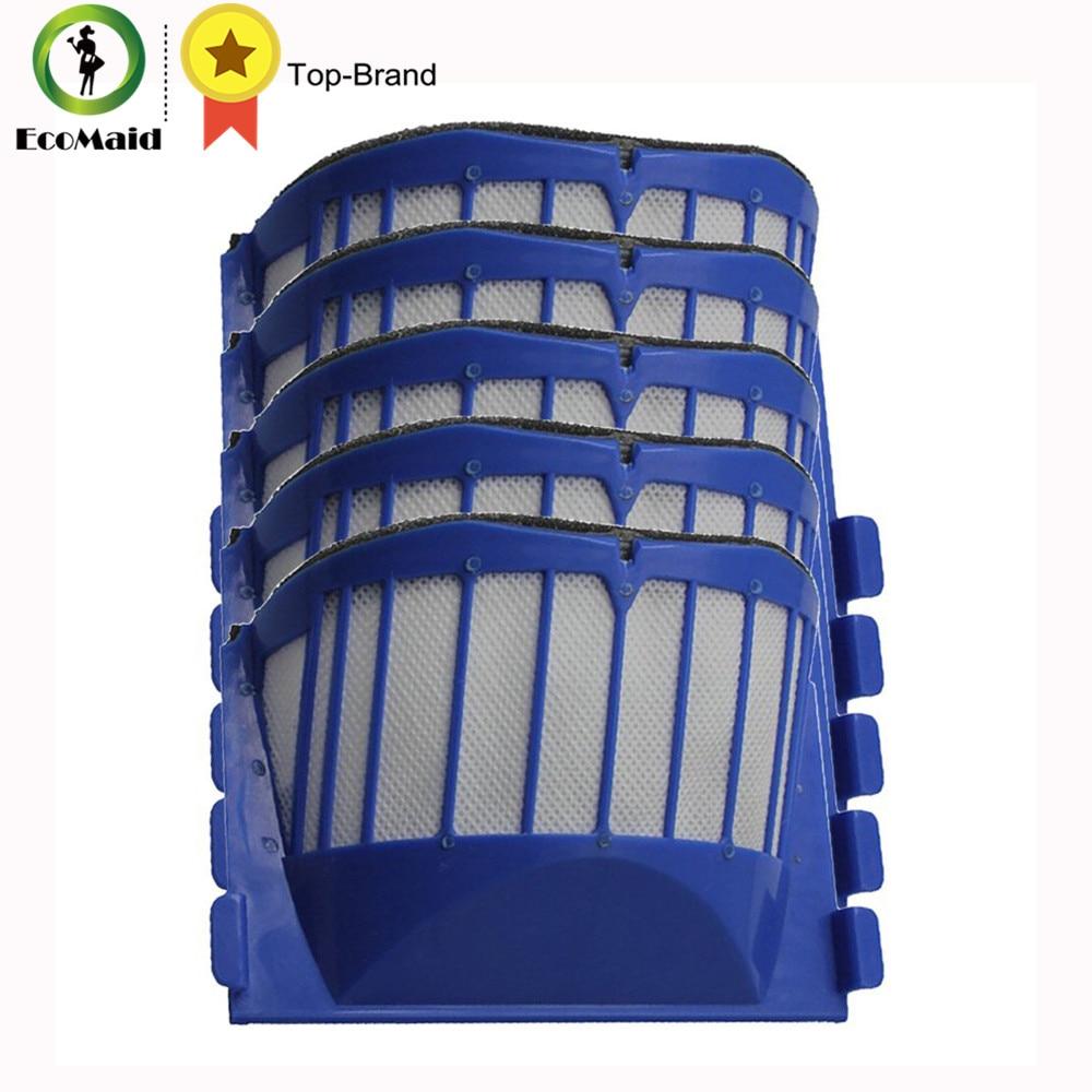 5pcs Aero Vac Filters for iRobot Roomba Replace 500 600 Series 536,550,551,552,564, 585,600,620, 650 Vacuum Cleaner Accessory bristle brush flexible beater brush fit for irobot roomba 500 600 700 series 550 650 660 760 770 780 790 vacuum cleaner parts