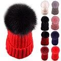 Fashion Winter Women Hats Beanie Warm Crochet Knit Thick Hat Autumn Fox Fur Pompons Bonnet Mink Pom Poms Female Ladies Girl W1