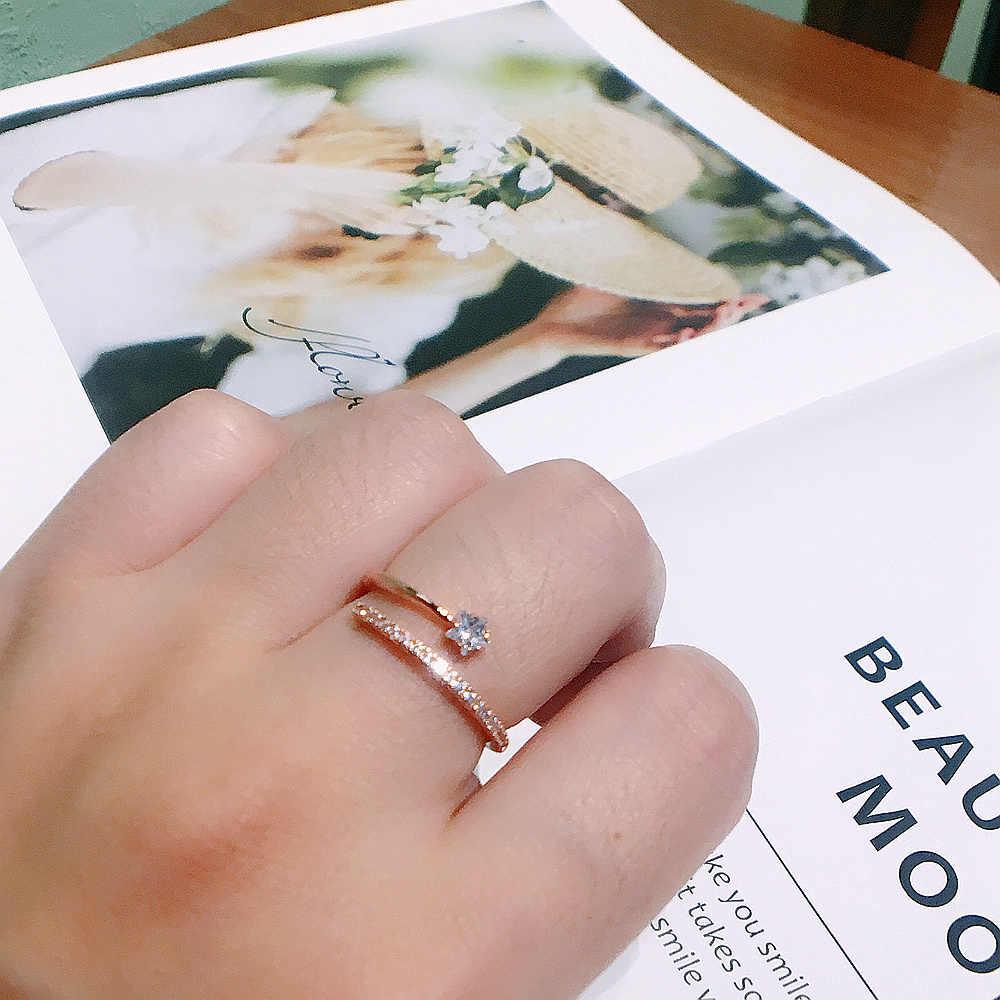 MIGGA haute qualité cubique Zircon CZ cristal étoile anneau pour les femmes réglable couleur or Rose Bague bijoux