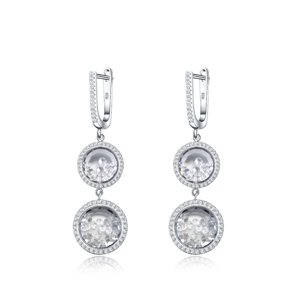 Classic SONA Gem Halo Running stones Earring Love Lock in Sterling Silver for Women for party wedding
