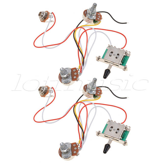 Kmise 3 Pickup Guitar Wiring Harness Prewired with 500k Pots 5 Way