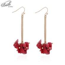 Badu Red Natural Stone Dangle Drop Earrings for Women Vintage Style Freshwater Pearl Pendant Earring Jewelry