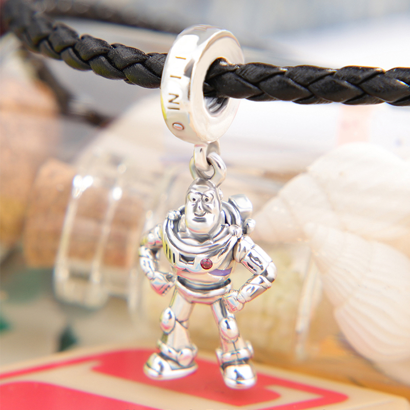 Toy Story Buzz Lightyear Charm Pendant 925 Sterling Silver Beads fit Original Pandora Bracelets Women DIY Jewelry in Beads from Jewelry Accessories