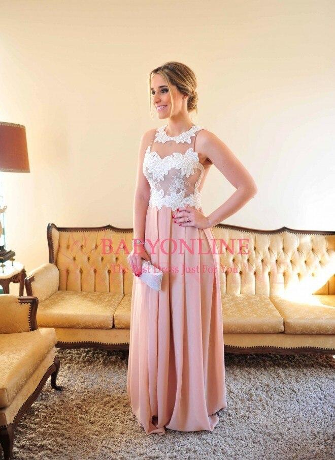 Robe De Renda rose Sexy longueur de plancher perlée corsage robe De soirée longues robes de bal voir à travers le dos Vestido De Festa longo - 3