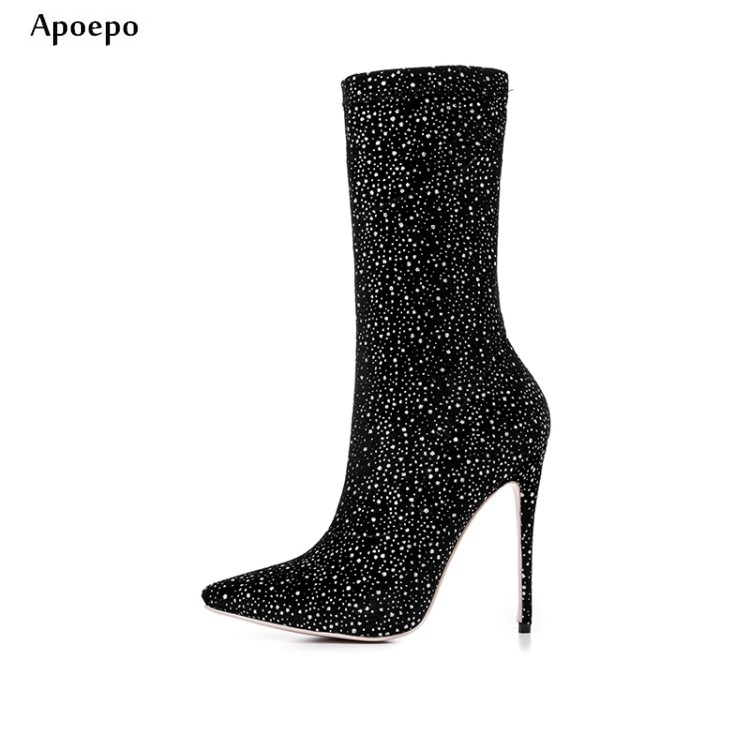 New women high heels fashion boots 12cm pointed toe ankle boots crystal embellished stretch fabric short boots