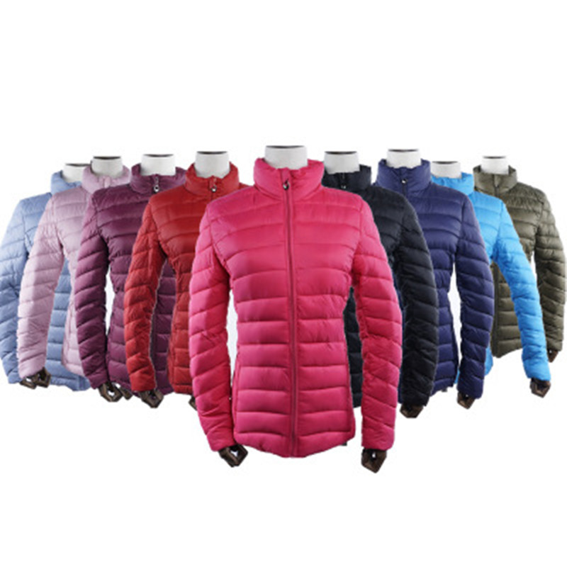 2018 Womens Cotton Down Coats Srand Collar Autumn Winter Zipper Light Slim Jackets Pure Colors Maternity Outwear L-3XL Sale winer womens down jackets with hooded zipper bright black thick maternity clothes brand design ladies coats high quality outwear