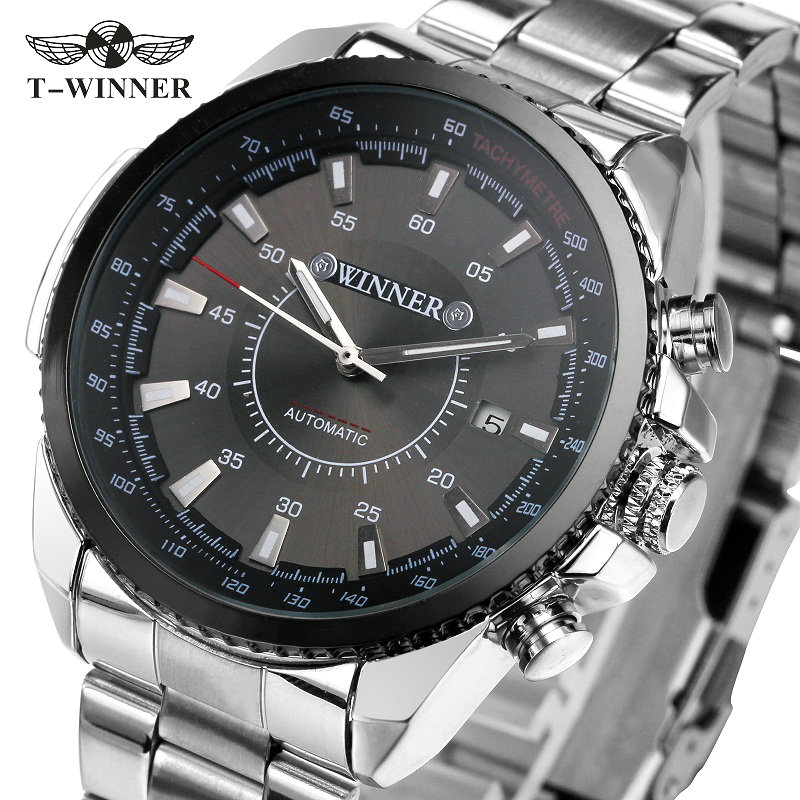 Winner Men's Mechanical Automatic Watch Stainless Steel Strap Supersize Case Date Calendar Business NEW Noble Fashion winner men s automatic mechanical watch stainless steel strap date calendar sub dial supersize new fashion sports design