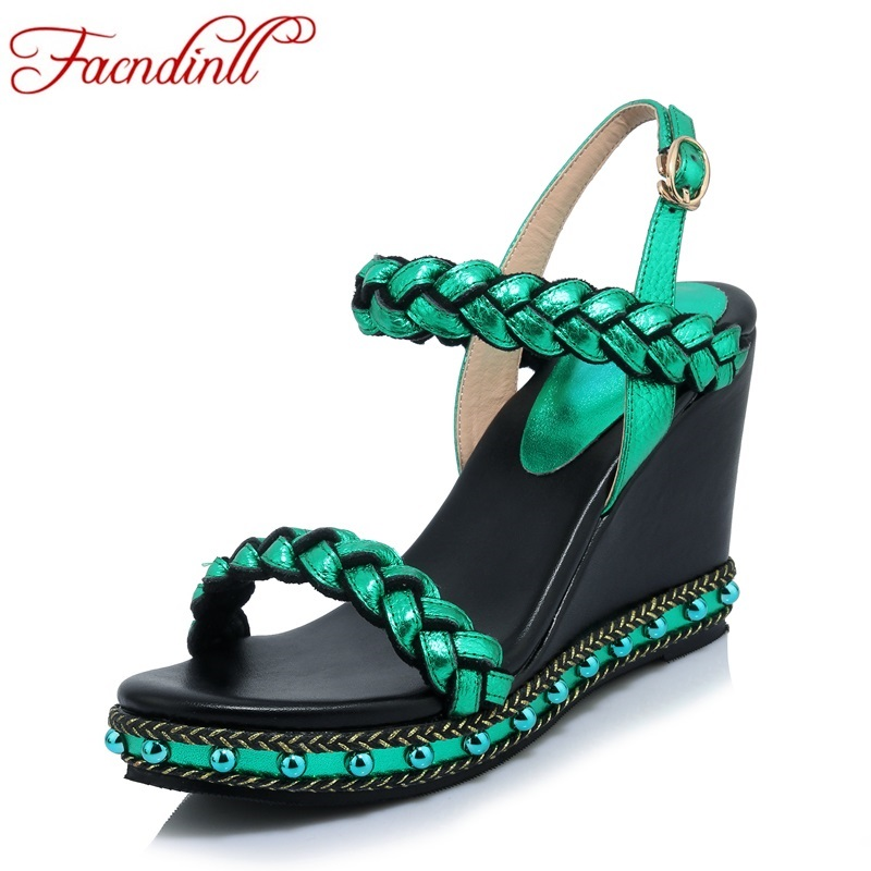 FACNDINLL summer shoes woman wedges high heel peep toe platform summer sandals shoes genuine leather dress party casual shoes phyanic 2017 gladiator sandals gold silver shoes woman summer platform wedges glitters creepers casual women shoes phy3323