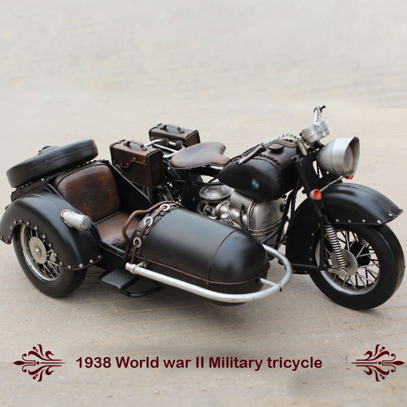 ФОТО Vintage Car Model 1938 World war II  VESPA Motorbike Military tricycle hot wheel 1:12 safe Cool Diecast Metal Motorcycle Toys