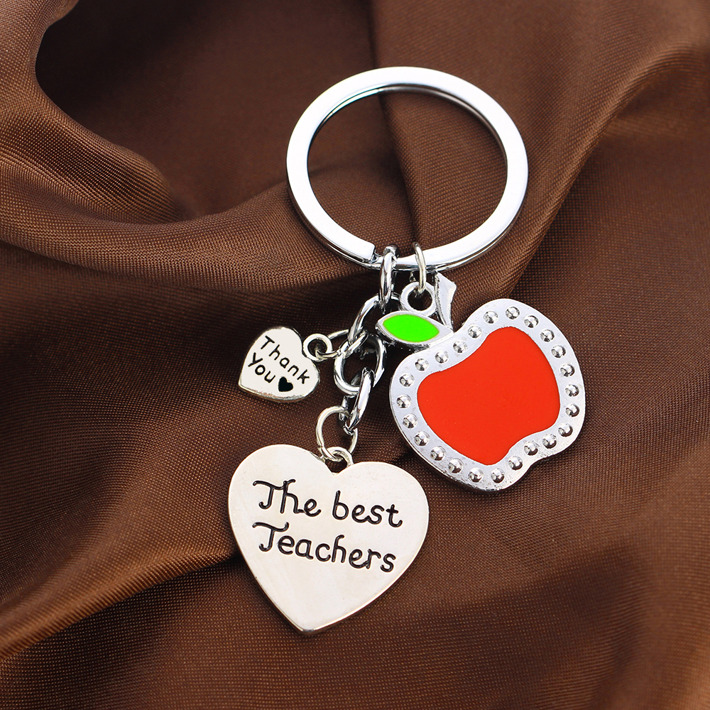 The Best Teachers Kryring Chic Red Apple Heart Pendant Keychain Key Rings Student School Party Teachers Day Jewelry Souvenir