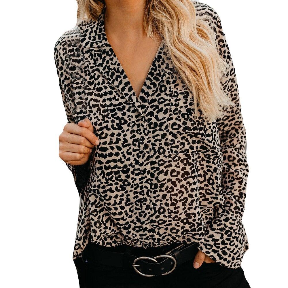long Sleeve Blouses Surplice Wrap Top Multicolor Leopard Deep V Neck Ruffle Blouse Women Autumn Casual Pullovers Blouses A40