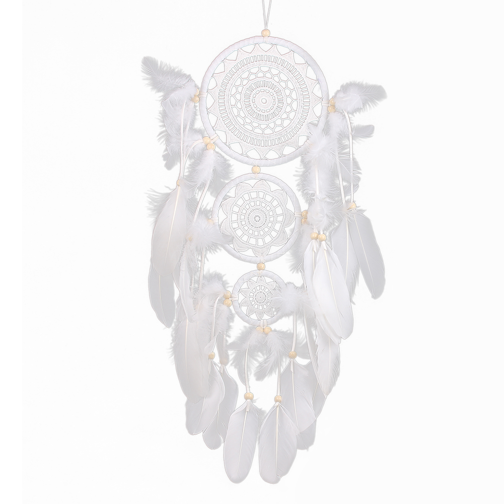White Dream Catcher handmade Rattan Dreamcatcher with feathers for home wall decorations Ornament
