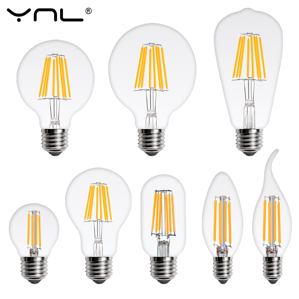 LED Light Bulb E27 E14 4W 6W 8W 220V Retro Lamp Vintage Candle Light Globe Ball Led Filament Bulb Bombillas LED Edison Bulb