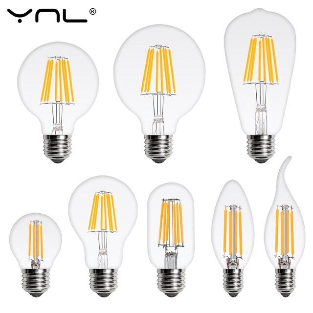 LED Light Bulb E27 E14 4W 6W 8W 220V Retro Lamp Vintage Candle Light Globe Ball Led Filament Bulb Bombillas LED Edison Bulb