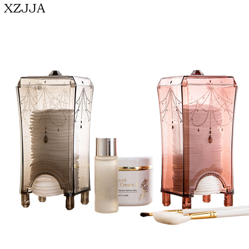 XZJJA Creative Acrylic Desktop Cosmetics Cotton Storage Box Transparent Cotton Swabs Stick Cosmetic Makeup Organizer
