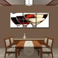 Çerçevesiz 3 Parça Modern Mutfak Tuval Baskılar Yapıt Özet Kırmızı Şarap Bardağı Şişe Duvar Sanat Oturma Odası Için Modüler Resimler
